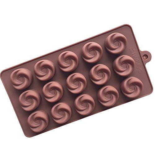 Dawwoti 15 Swirl Ice Cube Plateaux Antiadhésives en Silicone Fondant Moules À Gâteau Chocolat Polymerclay Petit Gâteau Plateaux de Cuisson - Couleur Aléatoire