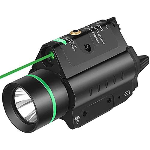 EZshoot 20MM Pistol Green Laser Light Combo, 200 Lumen Laser Handgun Light for Picatinny Rail, Tactical Weapon Light with Green Laser, 3 Modes Flashlight Laser Sight for Pistol Handgun Shotgun, Green