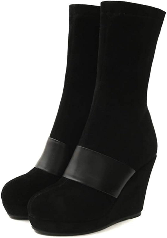 VILKA Winter Genuine läder Mid Calf stövlar kvinnor mocka Platform hög klack Wedge Booslipss Footwear