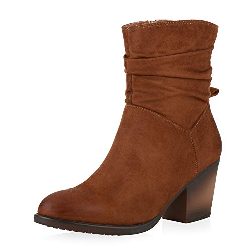SCARPE VITA Damen Cowboy Boots Stiefeletten Profilsohle Schuhe Holzoptik Trichterabsatz Kurzschaft-Stiefel Wildlederoptik Booties 197479 Braun 39