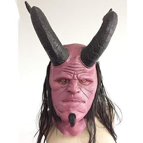 JHXXJDNKCKSHEA Red Hellboy Mask Hell Boy Overhead Hood Black Halloween MasksScary Latex Mascara Terror, 1