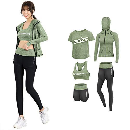 GRTE Conjunto de ropa deportiva para mujer, 5 piezas, traje de yoga, fitness, correr, gimnasio, entrenamiento, ropa para principiantes, C, XXL