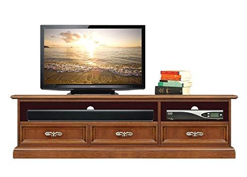 Arteferretto Porta TV vano soundbar, Mobile Basso per TV, Base TV per Soggiorno o Salotto, soundbar, 3 cassetti, Tinta ciliegio, Artigianato Italiano, Dimensioni: L153xP40xH43 cm