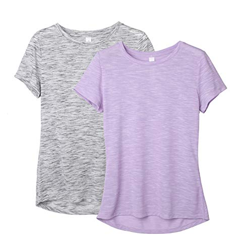 icyzone Workout Shirts for Women - Yoga Tops Gym Clothes Running Exercise Athletic T-Shirts for Women (Grey/Lavender, S)