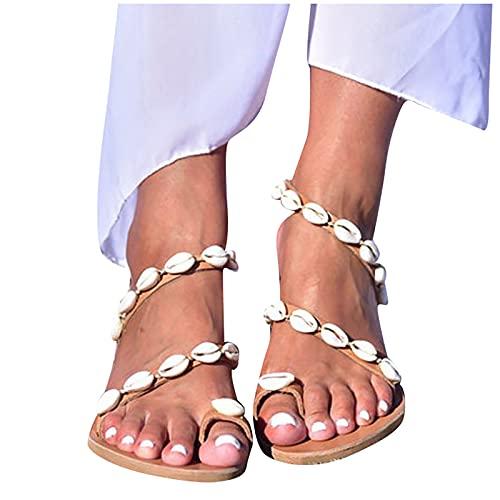 Nuevo 2021 Sandalias Mujer Chanclas Mujer Verano Fiesta planas Sandalias de Vestir Playa cáscara casual Flip flop Chanclas para Mujer Cómodo Zapatos Sandalias de Punta Abierta Roma