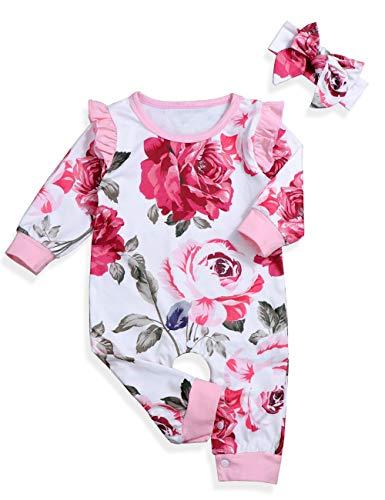 Xuefoo Ropa de bebé niña Mameluco Floral Mono de niña recién Nacida con Conjunto de Traje de Diadema
