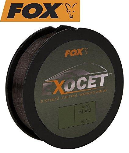 FOX Exocet Mono Trans Khaki Karpfenschnur 1000m, Angelschnur, monofile Schnur zum Karpfenangeln, Schnüre für Karpfen, Durchmesser/Tragkraft:0.37mm / 9.09kg Tragkraft