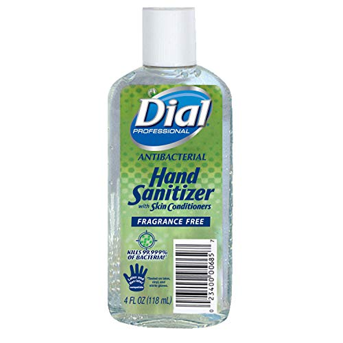 Dial Professional Antibacterial Hand Sanitizer Gel with Skin Conditioners, Fragrance-Free, 4 OZ Flip-Top Cap Bottle (Pack of 24)