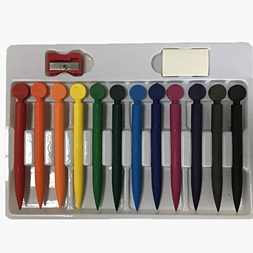LQG Wachsmalstift, löschbare, mit Bleistiftspitzer-Radiergummi, leicht zu reinigen Schule & Malzubehör Kinder Indoor-Aktivitäten zu Hause