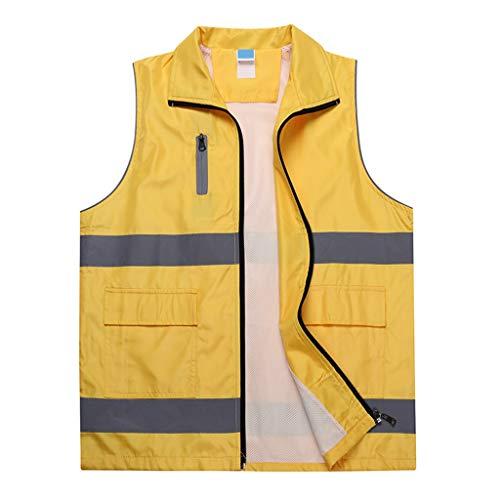 Weste Schnelltrocknend Freiwillige reflektierende Outdoor-Sicherheit Sport Arbeit Single Six Colors (Color : Yellow, Size : L)