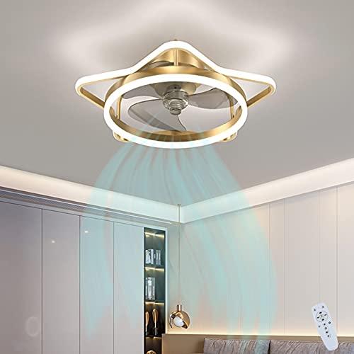 VOMI Creativa Lámpara De Techo Con Luces Y Mando A Distancia De Techo LED Iluminación Moderna Lámpara De Ventilador Regulable Invisible Mute Fan 6 Velocidades Ajustable Per Dormitorio Salón