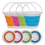 Cubo de Agua Plegable (4 Piezas) - 5litros Cubo de Plegable en Plástico Silicona con Asa - Azul, Verde, Rosa, Naranja Colores Cubo para Pescar, Acampar, Senderismo y Lavar el Coche