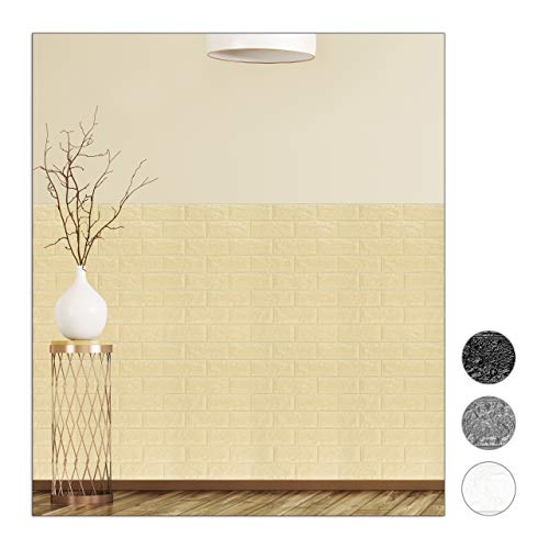 Relaxdays Wandpaneele selbstklebend, 10er Set, dekorative Steinoptik, 3D Paneele, weicher PE-Schaumstoff, 78x70cm, sand