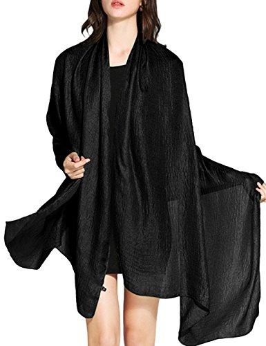 WedTrend Damen Festlich Stola Sommer Schal Sonnenschutz Bolero für Hochzeit Abendkleid Sandstrand Schwarz WTC30002 Black