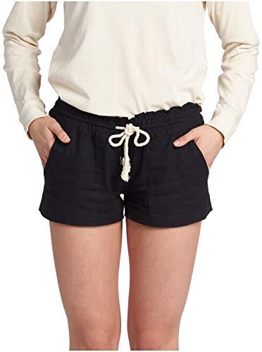 Roxy Women's Oceanside Short Elastic Waist Non Denim Shorts, True Black, Large