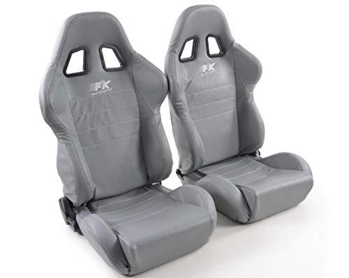 Par de asientos deportivos ergonómicos de cuero artificial Sacramento con costuras grises blancas