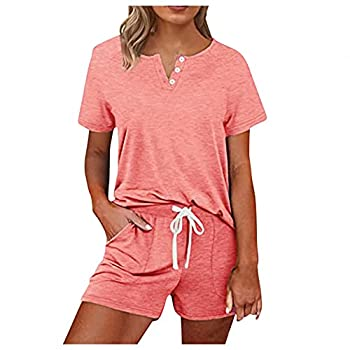 Aniywn Women s Short Sleeve Sweatsuits 2 Piece Casual Outfit Sets with Pockets V-Neck Pullover and Shorts Tracksuits Pink
