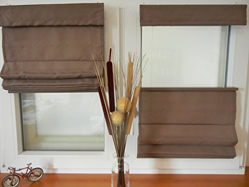 IXX-Design Faltrollo, Raffrollo, Raffstore schnurlos mit Plissee Technik, frei verschiebbar, Farbe: Mocca, Größe: 60x130cm, für Decken - Wandmontage und Montage ohne Bohren, auf dem Rahmen