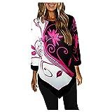 Esque Camisa De Mujer con Mangas Nueve Cuartos, Estampado Informal Blusa Color En Bloque Dobladillo Irregular,Blusa Irregular Y Floral para Mujer,Blusa Negra Tallas Grandes,Rosa,3XL