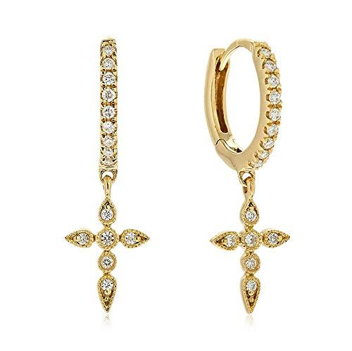 Brandlinger ® Atelier Ohrringe mit Kreuz Anhänger aus vergoldetem 925 Sterling Silber für Frauen und Mädchen. Durchmesser der Creole 14mm