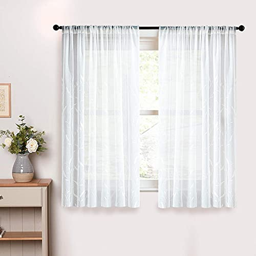 Leaves Embroidered White Sheer Curtains 54x54 Inch Long Wheat Spike Embroidery Kitchen Curtains Living Room Bedroom Voile Curtain Panels Basement Rod Pocket Window Treatment 2 Panels