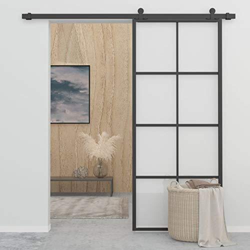 Tidyard Puerta Corredera de Aluminio y Vidrio ESG con Herrajes Herraje Puerta Corredera 83x205cm