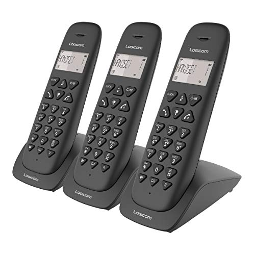 Telephone fixe sans fil - Téléphone fixe sans fil avec Répondeur - Trio - Téléphones analogiques et dect - Logicom VEGA 355T Téléphone Fixe sans Fil Trio avec Répondeur Noir