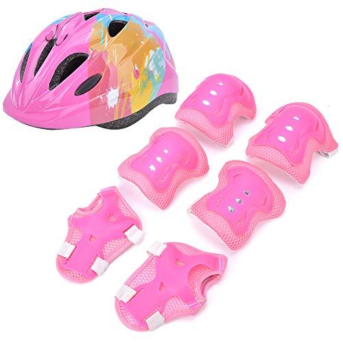 VGEBY Set di Protezioni per Bambini, 7 Pezzi Set di Protezioni per Bici da Pattinaggio per Bambini Set di Protezioni per Gomiti con Casco Protettivo per Bambini(Rosa colorato)
