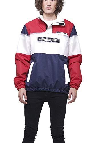Members Only Men's Colorblock Translucent Half-Zip Jacket - RedL