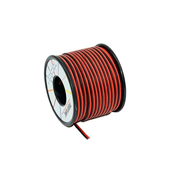TUOFENG 22 AWG Cable eléctrico 60 metros [Negro 30 metros Rojo 30 metros]
