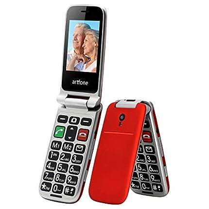 ODLICNO Teléfono Móvil para Mayores con Camara Teclas Grandes para Mayores, SOS Botón, Cámara, con una Base de Carga-Rojo