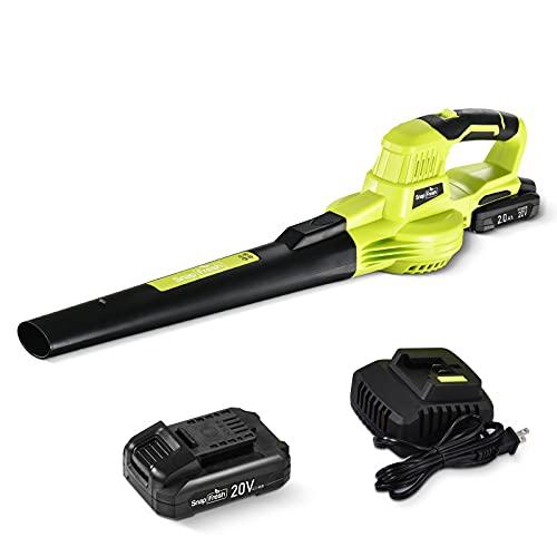 SnapFresh - Soffiatore a batteria da 20 V, 190 km/h, 13000/min, con batteria da 2,0 Ah e caricabatteria, 1,22 kg, leggero, ergonomico, soffiatore elettrico per foglie a batteria a 2 velocità