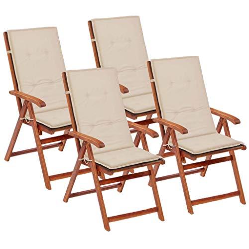 vidaXL 4X Gartenstuhl Auflage für Hochlehner Kissen Sitzkissen Stuhlkissen Polster Stuhlauflage Sitzauflagen Sitzpolster Creme 120x50x3cm