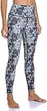 YUNOGA Women's Ultra Soft High Waisted Seamless Leggings Tummy Control Yoga Pants (Black Ink Tie-dye, Small)