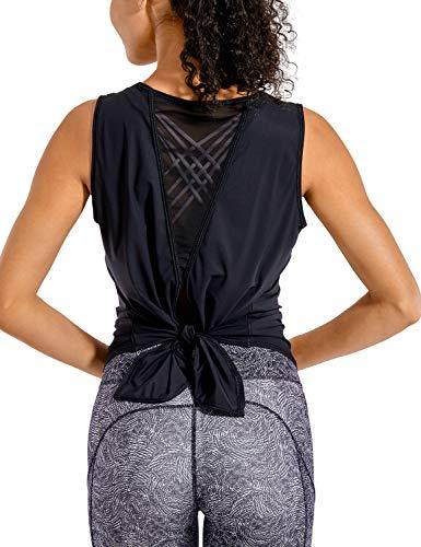 CRZ YOGA Women's Breezy Feeling Mesh Workout Tank Tops Sleeveless Gym Shirts Open Tie Back Yoga Clothes Black M