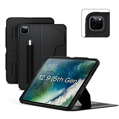 ZUGU iPad Pro 12.9 Hülle 2021 Gen. 5, schlanke Schutzhülle 10 Winkel-Ständer magnetisch, Aufladen iPad Stiftes Auto Sleep/Wake Up [iPadPro 12.9 Schwarz]