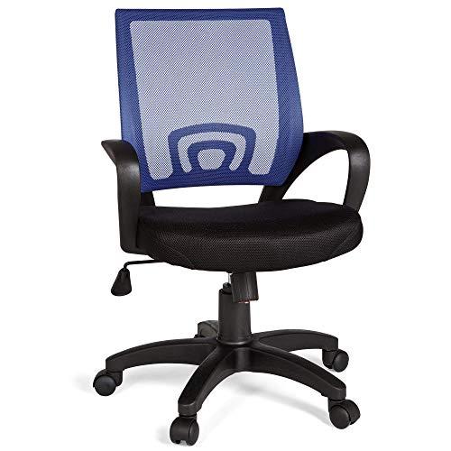 FineBuy Bürostuhl OLEG Blau Schreibtischstuhl Stoff Drehstuhl mit Armlehne Jugend-Stuhl Büro-Sessel höhenverstellbar Netz 120 KG Netz ohne Kopfstütze Wippfunktion Lendenwirbelstütze