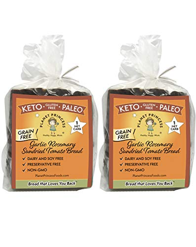 Planet Princess Keto Garlic Rosemary Sundried Tomato Bread — Only 1 NET Carb and 6g Protein. Gluten-Free, Grain-Free, Low Carb, Non-GMO, No-Preservatives, Paleo. (2 Loaves)