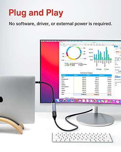 iVANKY USB C auf DisplayPort Adapter, 4K@60Hz Typ C auf DP Adapter [Thunderbolt 3 kompatibel], geeignet für MacBook Pro/Air, iMac, iPad, Samsung Galaxy und mehr - 20cm