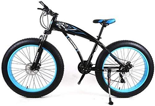 QZMJJ Mountainbike, Mountain Trail Bike High Carbon Stahl Outroad Fahrräder 7/21/24/27 Geschwindigkeiten, 26-Zoll-Fat Tire Straßen-Fahrrad Schnee-Fahrrad-Pedale mit Scheibenbremsen und Federgabeln