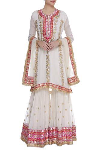 ETHNIC EMPORIUM Damen -Party-Juwel Hals Sharara Anzug Original Handarbeit erhielt, Patti Bespoke Muslim Eid Festival 8 Weiß