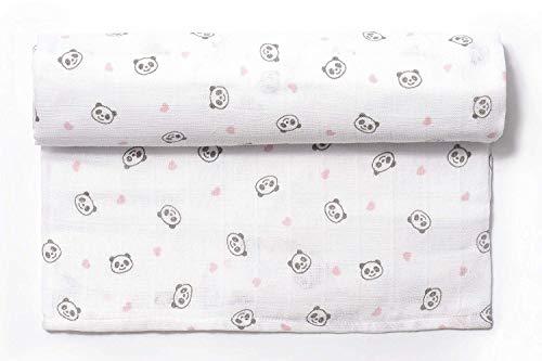 Ti TIN - Muselina para Bebé de Fibra 100% Algodón | Gasa para Bebé Extrasuave y Absorbente con un Estampado de Oso Panda Color Rosa, 120x120 cm