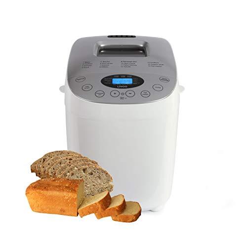 Brotbackautomat mit 2 Knethaken - Brotbackmaschine 15 Automatikprogramme - LCD Bildschirm - 60 Min Warmhaltefunktion und 15 Std Timer - Brotbäcker 3 Bräunungsgrade