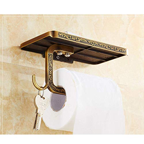 Soportes para Papel higiénico Estante para Papel higiénico Soporte para Papel en Rollo de Pared Tallado clásico con Estante para teléfono móvil Cenicero y Gancho sin taladrar