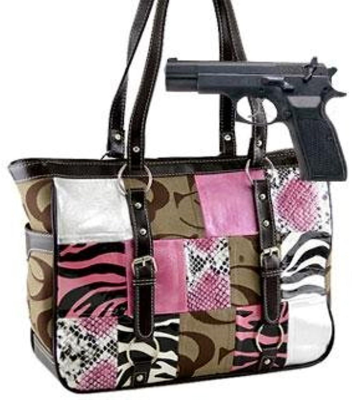 Patched Buckle Trim Signature Bag (Concealed Handgun Purse) HANDBAG PURSE  KHAKI BROWN