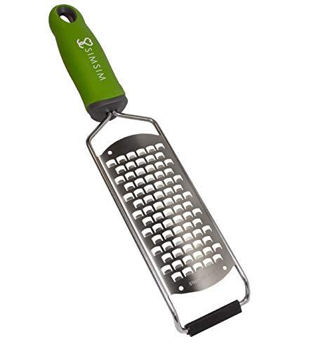 SimSim Profi Reibe, Premium Hobel, extrem scharf, Edelstahl, Parmesanreibe, Küchenwerkzeug spülmaschinengeeignet, grüner Griff