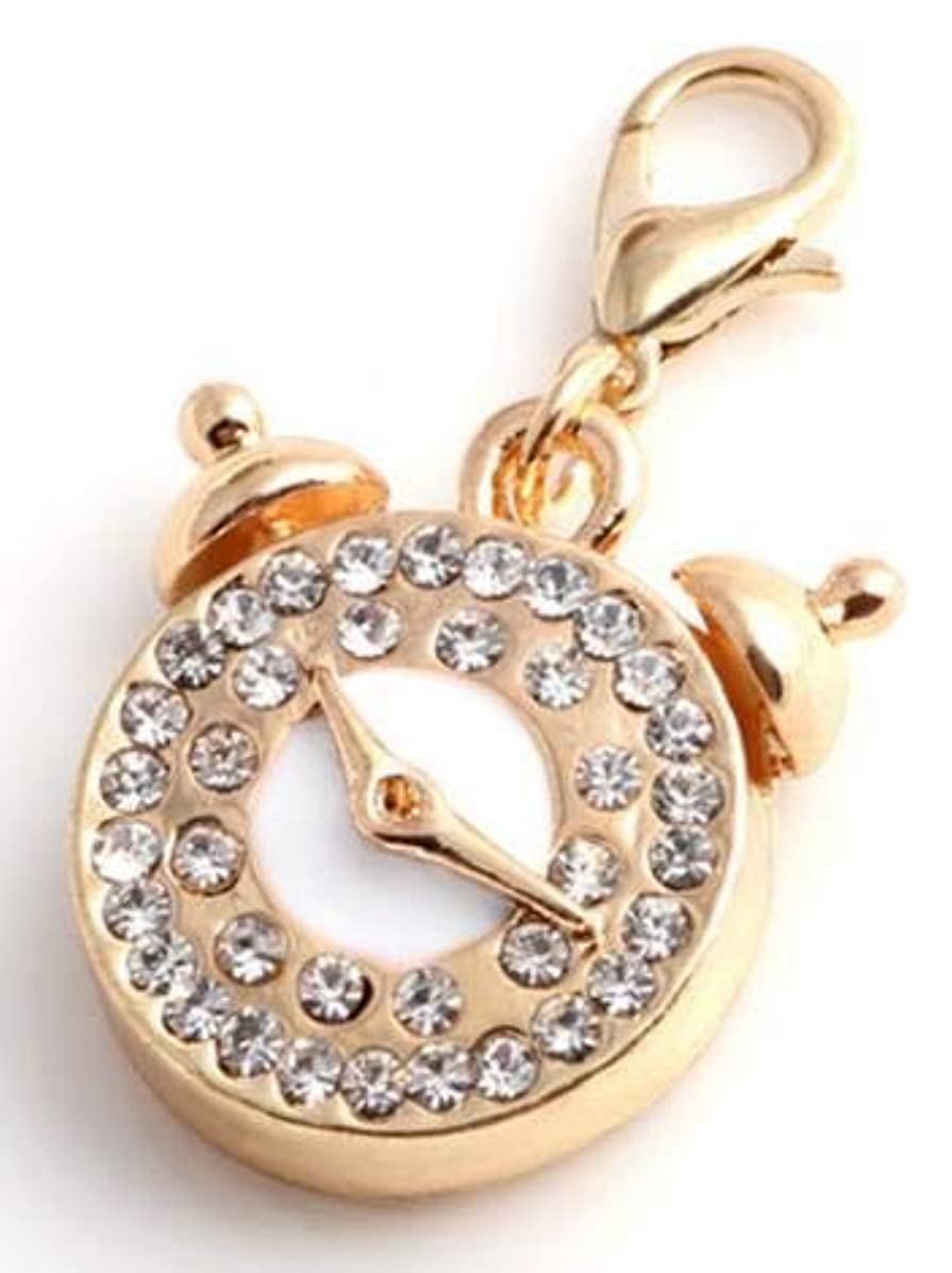 Clock With Rhinestones Embellishment Charm, Gold Plated Lobster Clasp Charm For Purse, DIY Arts & Craft Charm, Pendant, Backpack, Keychain, Unique Charm, KandyCharmz (SKU192)
