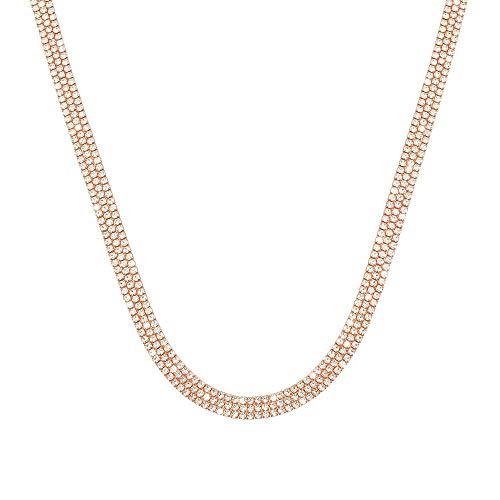 Stroili - Collana multifilo in metallo rosato con strass per Donna