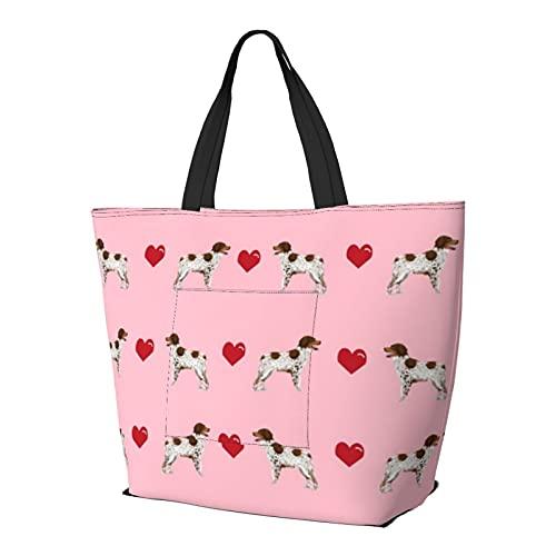 Brittany Spaniel Love Blossom - Bolso de hombro para perro, multifuncional, gran capacidad, ligera, bolsa de trabajo, bolsa de viaje, bolsa de playa, para mujer