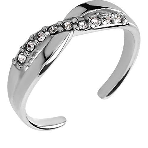 Ani's Anillo ajustable de 0,7 quilates con diamantes de imitación redondos y piedras preciosas de diamante de 14 quilates chapado en oro blanco de 14 quilates